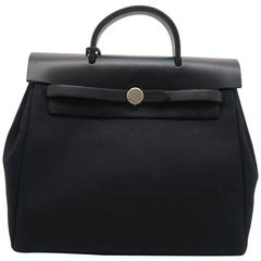 Hermes Herbag Sac A Dos Noir Black Canvas Top Handle Bag