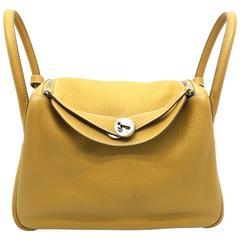 Hermes Lindy 30 Natural Sable Yellow Clemence Leather Shoulder Bag