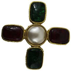 Chanel Gripoix Golden Red and Green Cross Brooch