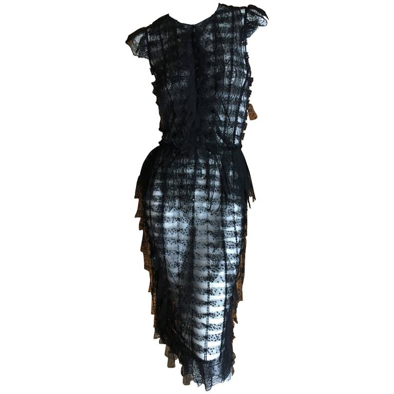 Oscar de la Renta Sheer Black Bugle Bead Embellished Cocktail Dress with Slip For Sale