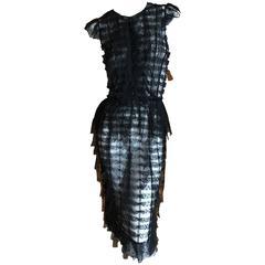 Oscar de la Renta Sheer Black Bugle Bead Embellished Cocktail Dress with Slip