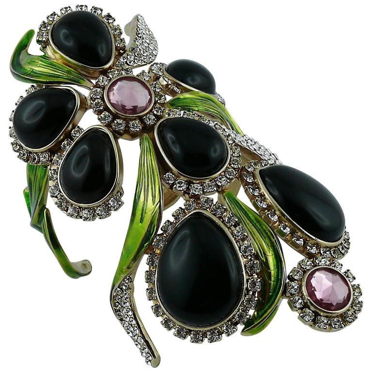 096a2eafc012 Yves Saint Laurent YSL by Tom Ford Jewelled Orchid Runway Cuff Bracelet For  Sale