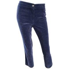 Chanel 2003 Sz 40 Navy Blue Corduroy Mid Rise Slim Fit Capri Pants Pedal Pushers