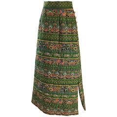 1970s Bonwit Teller Paisley Flower Print Vintage 70s Cotton Boho Maxi Skirt