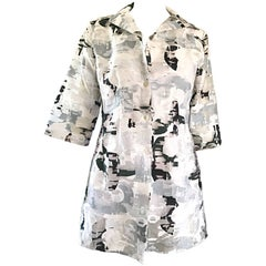 NWT 1990s JIL SANDER Black and White Abstract Print 3/4 Sleeves Semi Sheer Top