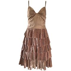 Marc Jacobs Runway 1920s Flapper Style Taupe Size 2 Tiered Polka Dot Dress