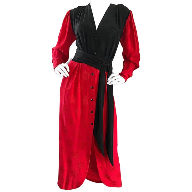 Emanuel Ungaro Vintage Red + Black Color Block 1990s Long Sleeve 90s Silk Dress