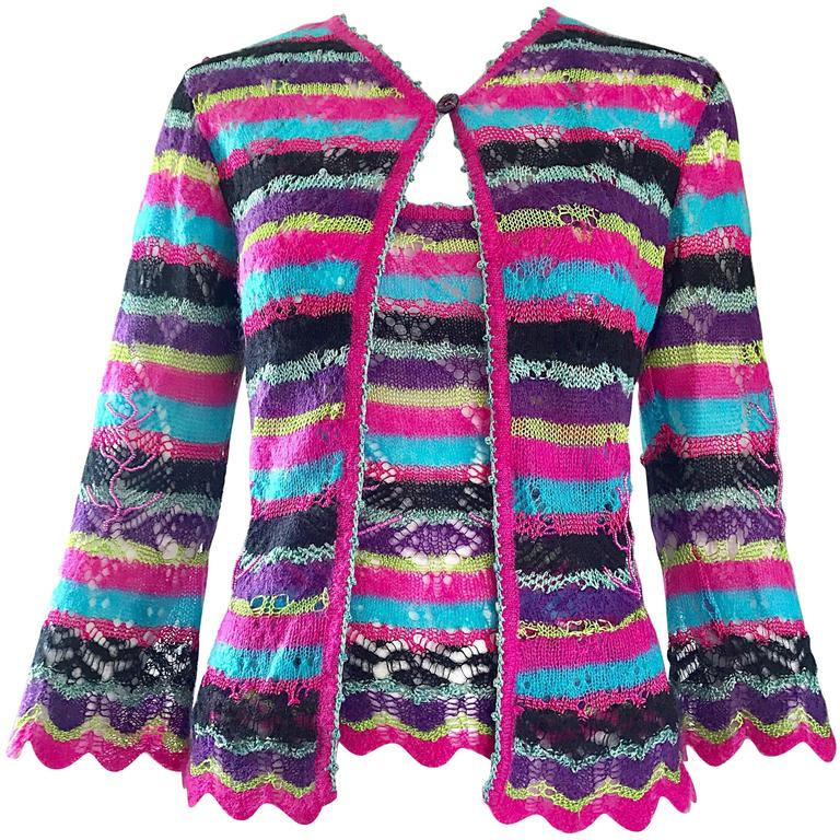 1990s Christian Lacroix Beaded Mohair Two Piece Vintage 90s Twinset Sweater Set