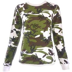 New Early Lucien Pellat Finet 90s Camouflage Marijuana 420 Skull Long Sleeve Top
