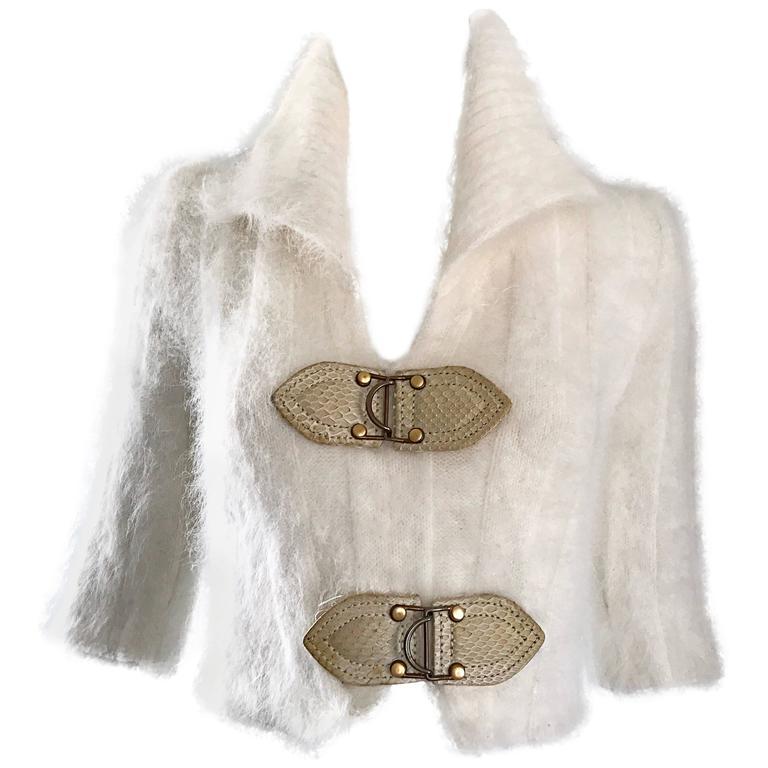 Chic Zac Posen Ivory + Snakeskin Angora 3/4 Sleeves Cropped Sweater Jumper