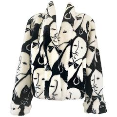 Rihanna's Vintage Picasso Esque Black and White Faux Fur Lush Face Jacket Coat