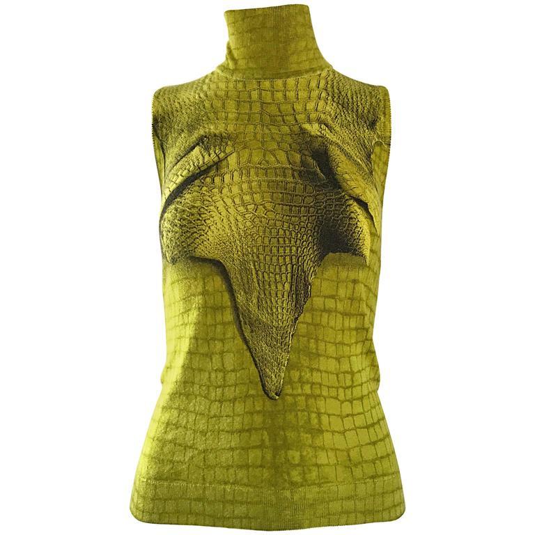 1990s John Galliano Chartreuse Green Cashmere Trompe L'Oeil Turtleneck Sweater