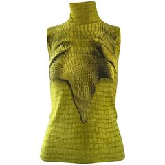 1990s John Galliano Chartreuse Green Cashmere Trompe L'Oeil Turtleneck Sweater