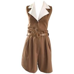Rare Vintage Givenchy Couture Brown and White Pinstripe 1990s Romper Jumpsuit