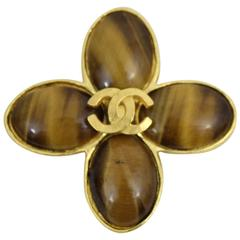Chanel Vintage gold plated and glass style Amber Brooch.