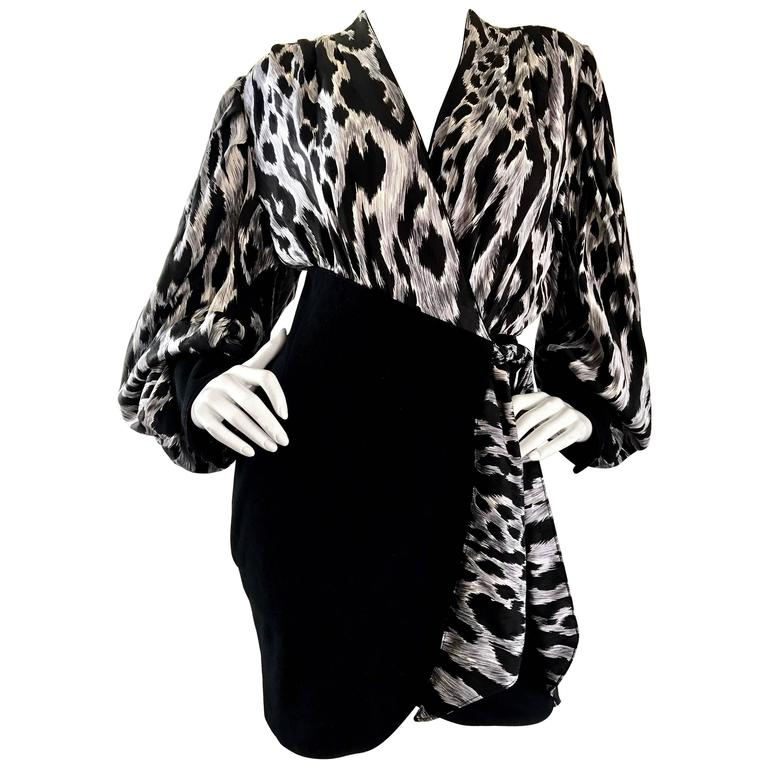 b4fee9cfe1a 90s Jean Claude Jitrois Black and White Leopard Print Leather + Silk Mini  Dress For Sale