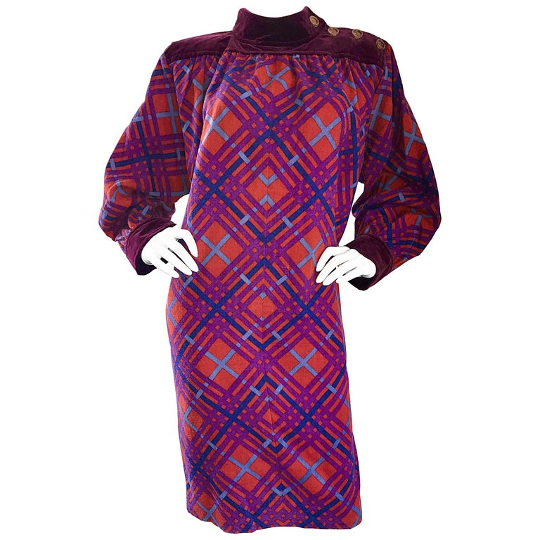 Yves Saint Laurent Vintage Russian Collection 1976 Geometric 70s Dress  For Sale