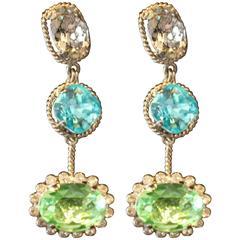 Triple-Drop Green and Blue Earrings