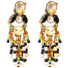 Crystal and Rainbow Seed Bead Contemporary Drop Earrings