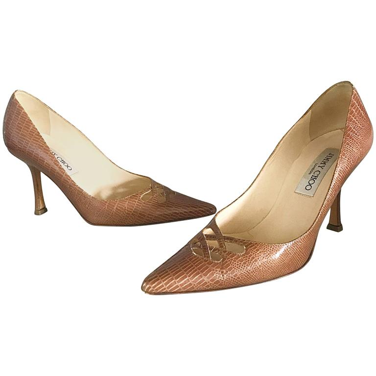 Jimmy Choo Size 36 6 Tan Nude Lizard Embossed Peek-a-Boo Stilettos Heels Shoes