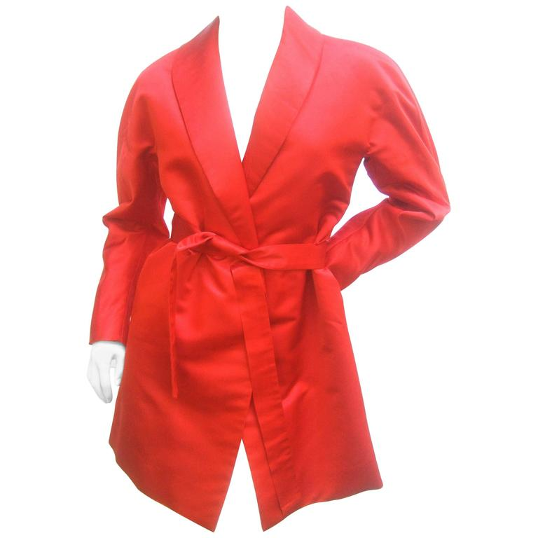 Cherry Red Halston Couture Belted Satin Jacket. 1970's. Studio 54.