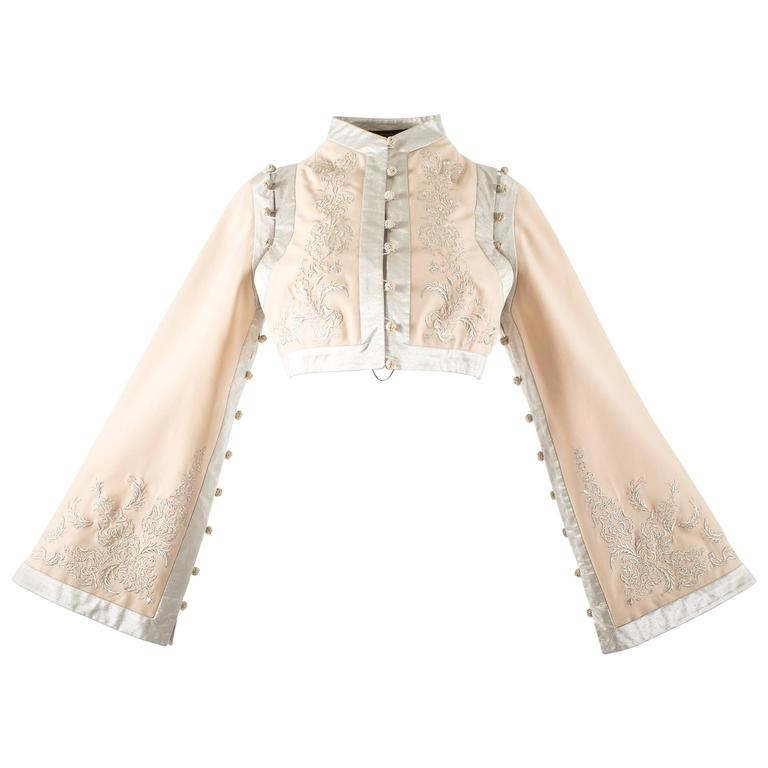 Alexander McQueen Spring-Summer 2000 ivory silk embroidered cropped jacket