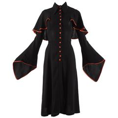 Ossie Clark 1970 black moss crepe mid length dress with red satin trim