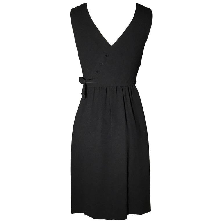 Lanz Originals Bullocks of Wilshire Button Back Detail Little Black Dress 1960s