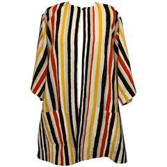 New Dolce & Gabbana 2013 Runway Yellow White Striped Robe Coat Swim Coverup