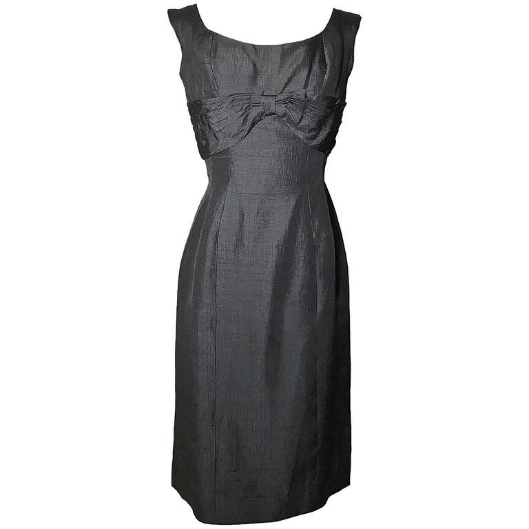 Suzy Perette 1960s Vintage Little Black Dress with Draped Almost Cape Back