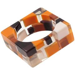 Extra Wide Clear Lucite Resin Bracelet Bangle Geometric Colorful Inclusions