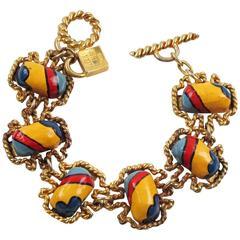Rare Vintage Alexis Lahellec Paris Signed Link Bracelet Colorful Resin Cabochon