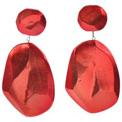 Rare Vintage Oversized Cast Resin Drop Clip On Earrings by Mary Oros 1980s