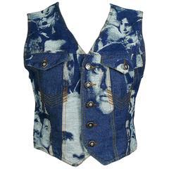 Jean Paul Gaultier Vintage Iconic Face Jacquard Denim Vest