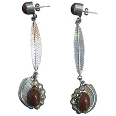 Sterling Artisan Mexican Statement Earrings ca 1980s