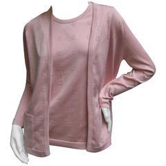 Givenchy Mauve Pink Logo Knit Twin Set ca 1970s