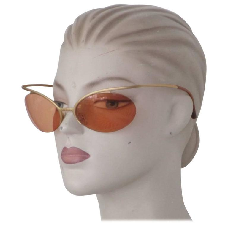 rare 90's chanel gold metal sunglasses For Sale