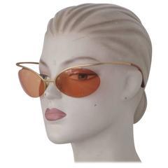 rare 90's chanel gold metal sunglasses