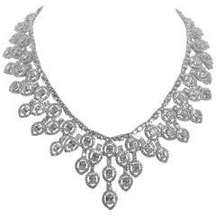 Magnificent Cubic Zirconia White Diamond CZ Lace Fringe Necklace