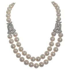 Audrey Hepburn Style Style Faux Pearl Diamond Necklace