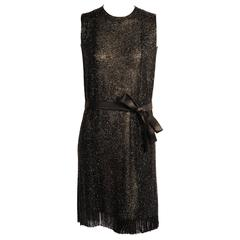Norman Norell Black Silk Chiffon Hand Beaded Dress