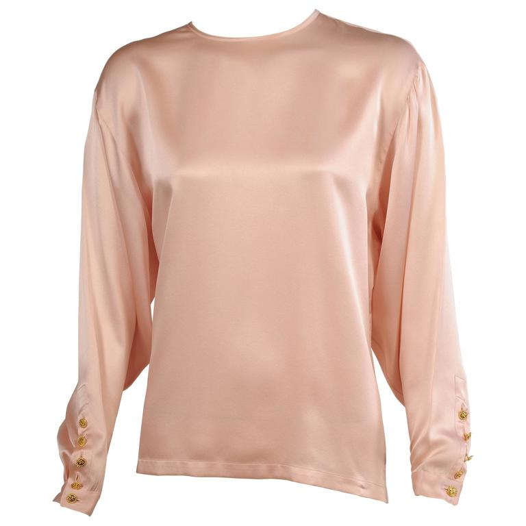 Chanel Pale Pink Silk Charmeuse Blouse, Larger Size