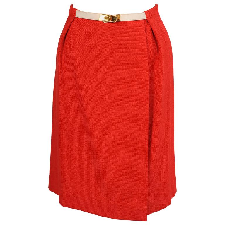 Hermes Red Orange Wrap Skirt with White Leather Kelly Belt