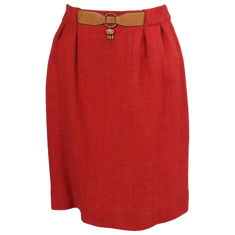 Hermes True Red Skirt with Camel Leather Belt and Charm