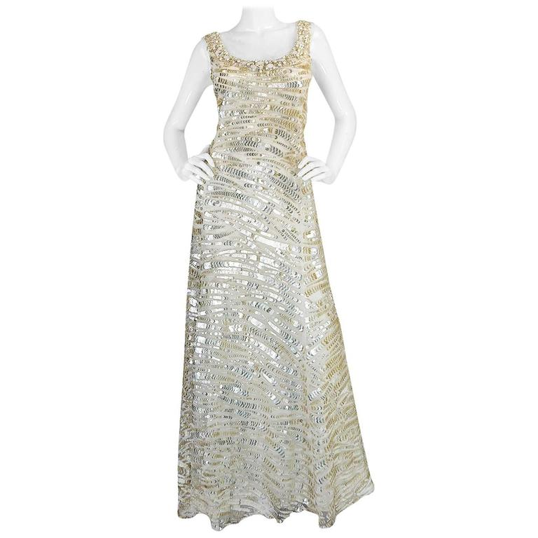 Oscar de la Renta Gold Sequin, Net and Silk Dress 1