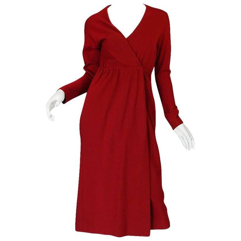 1970s Halston Deep Red Wool Jersey Wrap Dress
