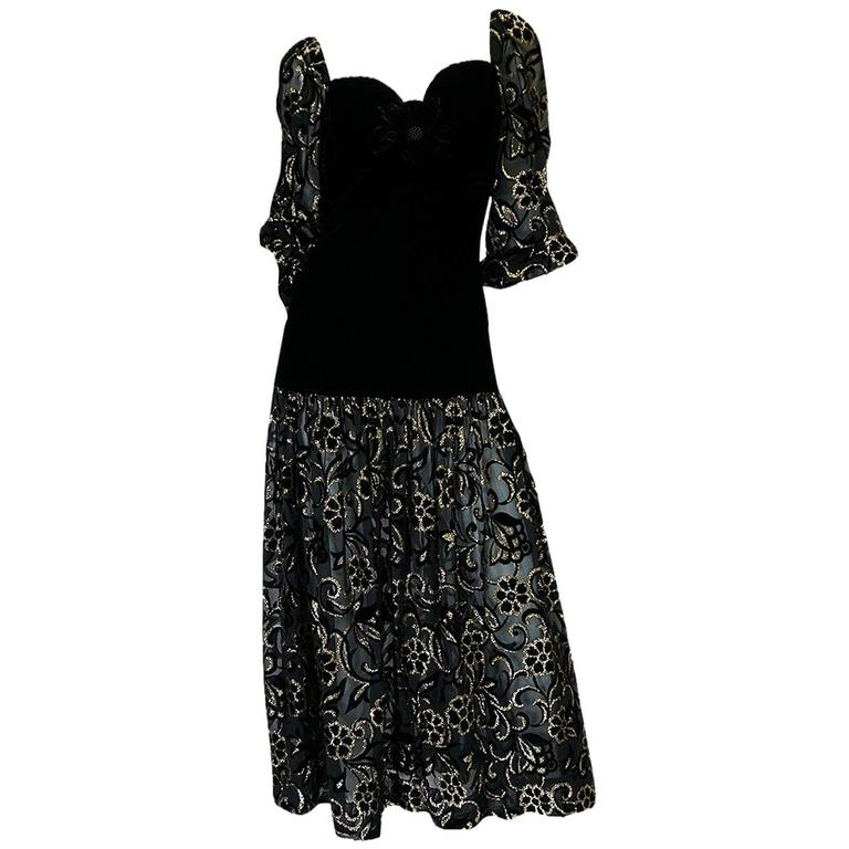 Early 1980s Yves Saint Laurent Gold & Black Velvet Dress For Sale