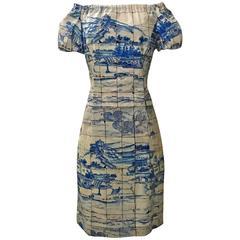 Prada 2011 Blue and White Scenic Porcelain Tile Print Off the Shoulder Sun Dress