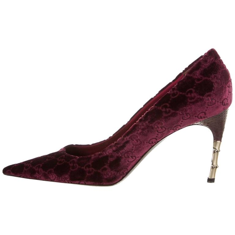 New Tom Ford for Gucci Black Cherry Velvet GG Snakeskin Bamboo Heel Pumps 11B