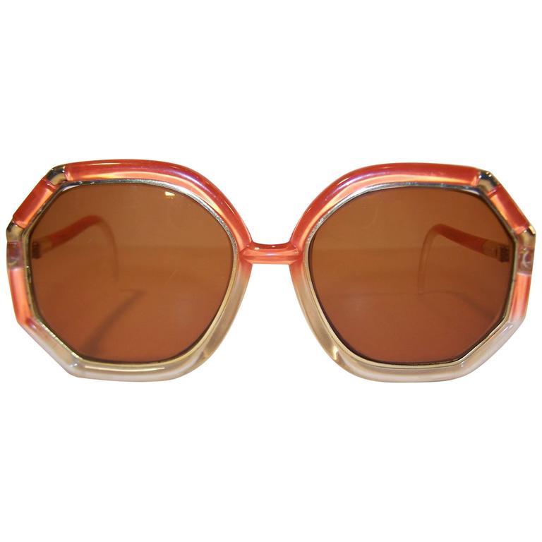 Pop Mod 1970's Ted Lapidus Orange & Gold Sunglasses
